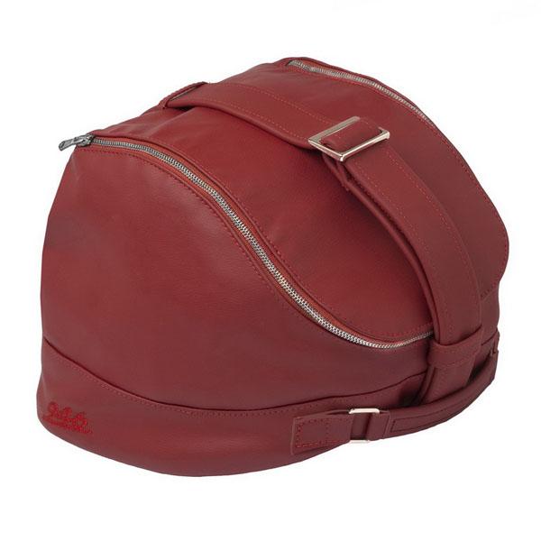Taška na helmu červená kůže pro Vespa 946